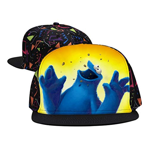 OPQNIAFH Coo-kie Monster Printed Hip Hop Baseball Cap Flat Bill Brim Snapback Hats Dad Hat Trucker Hat