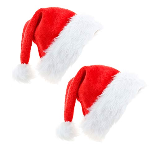 Christmas Hat - 2 Pieces Santa Hat for Adults Xmas Santa Hats Unisex Velvet Comfort Christmas Hats Christmas New Year Holiday Holiday Party Supplies
