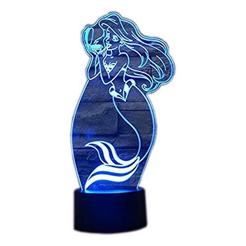 3D Led Illusion Tischlampe 7 Farben ändern Nachtlicht für Schlafzimmer Home Decoration Hochzeit Geburtstag Weihnachten und Valentine Geschenk Künstlerische und romantische Atmosphäre(Meerjungfrau)