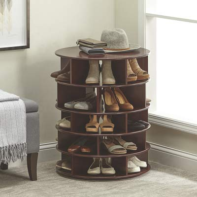Kotulas Revolving Lazy Susan 5-Tier Shoe Organizer — Stores 25 Pairs, Espresso