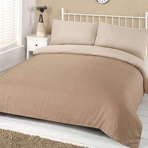 Dreamscene–Juego de funda nórdica con funda de almohada reversible Plain Dye juego de cama, poliéster, color crema, matrimonio
