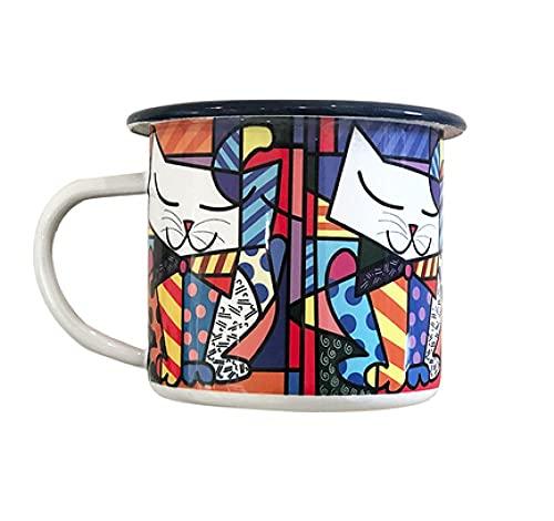 WORDOU Taza retro esmaltada para niños, para el hogar, café, creativa, linda, taza de oficina, 8 x 8,8 cm (gato elegante)