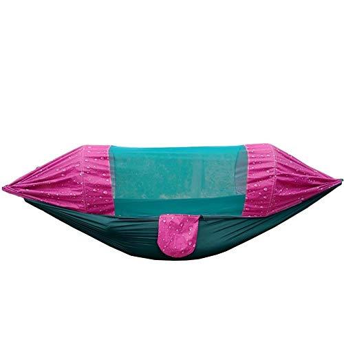 Portable Double Hamac Camping avec Sac De Rangement + Sangle,300kg Capacité de Charge (275x145cm) Motif De Goutte De Pluie Rouge Matelas De Camping pour La Randonnée Randonnée Voyage En Plein Air