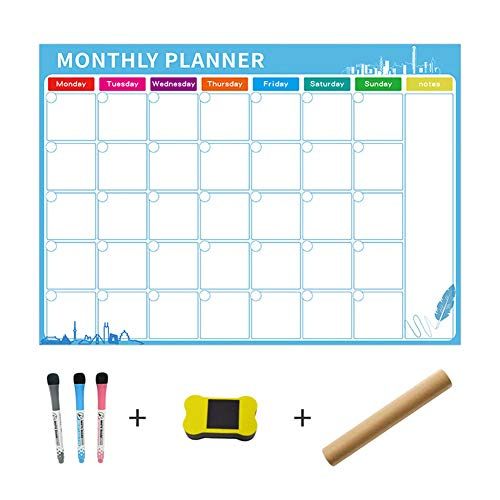 Fat Bear Exquisite Life Essentiële Magnetische Droog Veeg Maandelijks Whiteboard Kalender - Handige Maandelijkse Planner Board Herschrijfbare Maandelijkse Schema Magnetische Plakken Koelkast Stickers H01