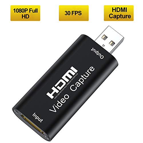 Tendak Capture Card - HDMI to USB 2.0 Game Video and Audio Grabber Card Full HD 1080P 30FPS, Capture Recording Box Compatible with Windows Linux Mac OS System YouTube OBS VLC Amcap for PS4/ Xbox/DSLR