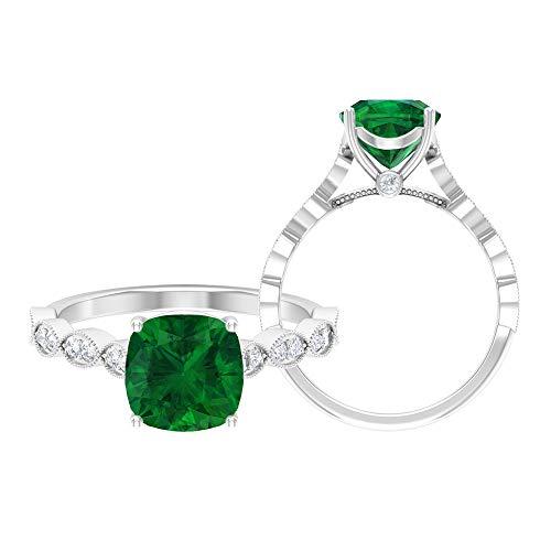 Rosec Jewels 14 quilates oro blanco cojín Round Brilliant Green Moissanite Esmeralda creada en laboratorio.