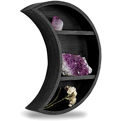 Kuppn Estante rústico de luna creciente negro montado en la pared, estantes flotantes para exhibición de aceite esencial, bandeja para colgar estante de exhibición para decoración de la luna