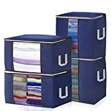 JOYXEON Clothes Storage Bags Closet Organizer Pack of 4 Large Capacity Closet Storage Bags with 3 Layers Fabric Reinforced Handle Double Zipper for Comforter Blanket Clothes 24 Gallon x 4 (Blue)