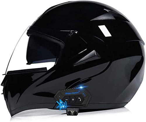 ZLYJ Bluetooth Casco de Moto con Doble Visera, Certificación ECE Adultos Modular Integral Casco Moto para Ciclomotor Motocicleta y Scooter con Manos Libres MP3 FM J,S
