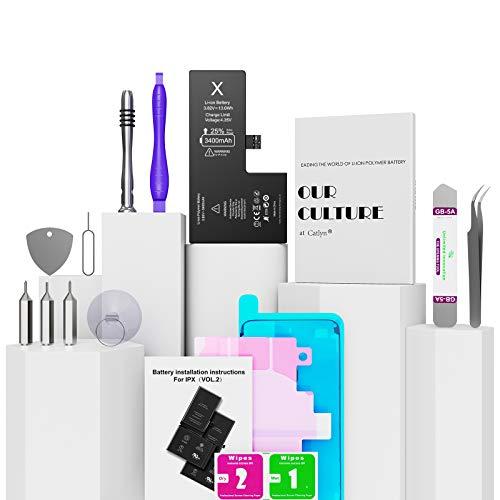 Akku für iPhone X 3400mAh, Catlyn Akku hohe Kapazität mit 25% mehr Li-ion Polymer-Batterie für iPhone X mit Ersatzakku mit Werkzeugsatz und Reparatursatz, Garantie 2 Jahr