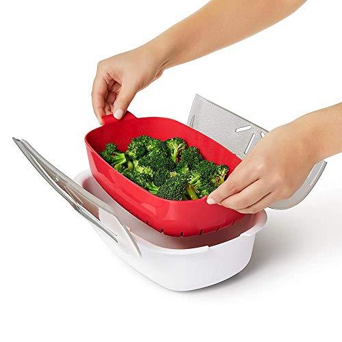 SHOH Sistema Vaporera Grande De Microondas De Plástico, Cooky Recipiente para La Cocción En Microondas, Plástico, Kitchen Craft - Olla para Microondas para Cocción Al Vapor, 28.5x21.8x8cm