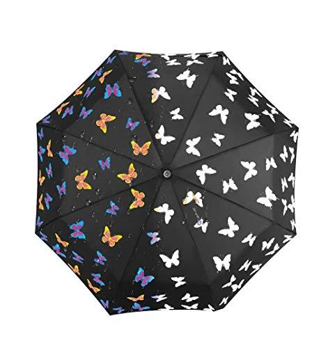 iMucci Regenschirm Taschenschirm-Ändern der Farbe UV 40+ Travel Umbrella Auto Open