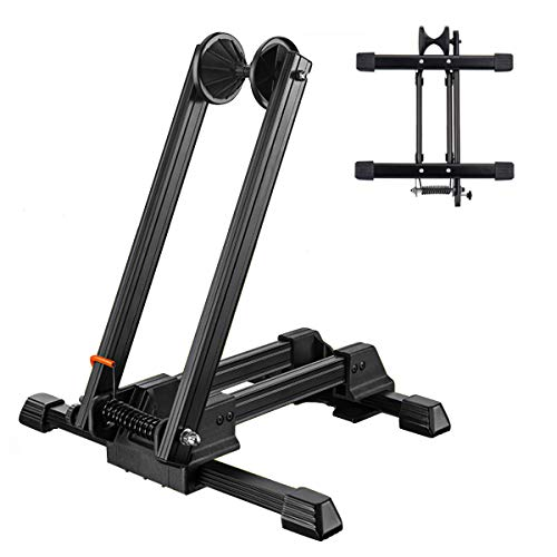 Foldable Floor Bike Stand Portable Bicycle Storage Holder Mountain Bikes Adjustable Cycle Parking Rack Aluminium Alloy Garden and Garage Park and Repair for MTB Road Bikes Ebike