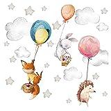 Little Deco Wandtattoo Wandsticker Kinderzimmer Waldtiere Tiere Luftballon Spielzimmer Baby Aufkleber eco Wanddeko Junge Mädchen Wandbild Kindergarten DL656-2