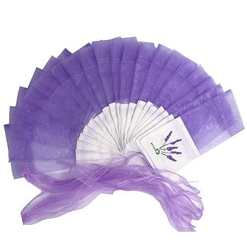 LEZED Leere Duftsäckchen Leere Lavendelsäckchen Lavendel Beutel Leere Duft Lavendelbeutel Lavendel Blumendruck Tasche mit Kordelzug für Hochzeit für Lavendel, Gewürze und Kräuter 20PCS