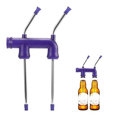 HaushaltKuche Pajitas Cerveza de Snorkel dispensador Embudo de Chug una Cerveza en 3 Segundos Piso en cachimba Cerveza Bong KTV Bar chupar Rueda Casa Partes Bachelor Party (Color : Double for Bottle)