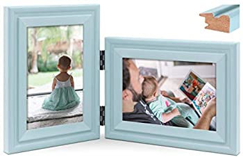 JD Concept Vertical Horizontal Combo Double 4x6 Soft-Blue Wood Hinged Picture Frame Glass Panel Desktop or Wall Mounted Portrait and Landscape View