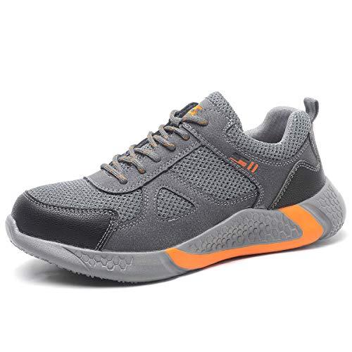 CHNHIRA Sicherheitsschuhe Herren Damen Arbeitsschuhe S3 Leicht Sportlich Atmungsaktiv Schutzschuhe Stahlkappe Sneaker (EU 39 H Grau)