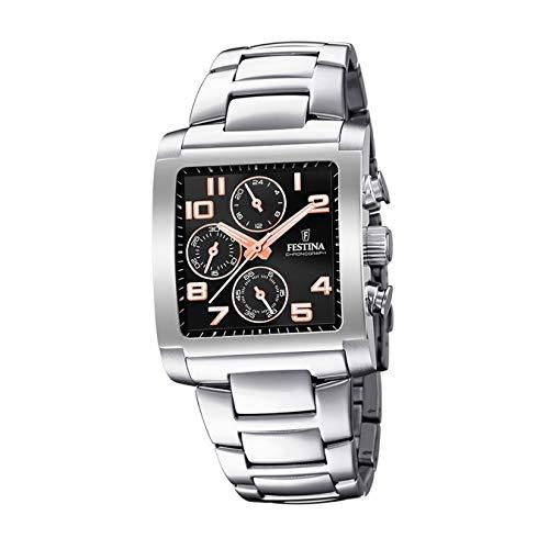 FESTINA Reloj Modelo F20423/7 de la colección Timeless Chronograph, Caja de 36,00/26,50 mm Negro con Correa de Acero para Caballero