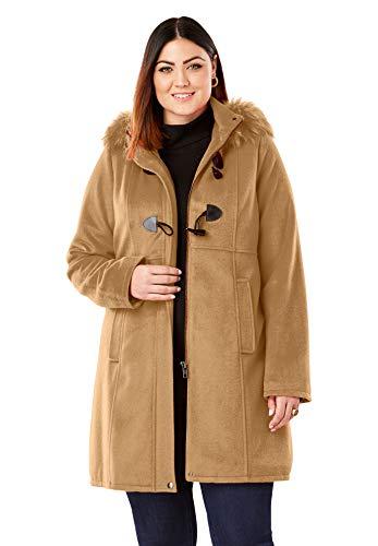 Jessica London Women's Plus Size Faux Fur Toggle Coat - Camel, 18 W