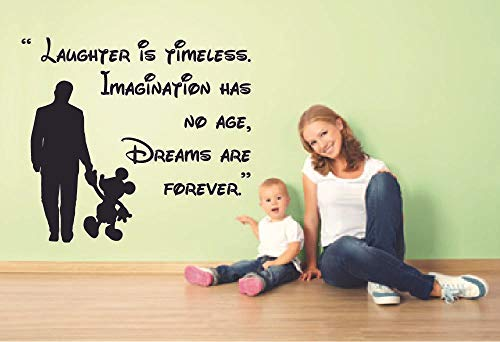 Dreams are Forever Mickey Mouse Quote Disney Cartoon Quotes Wall Sticker Art Decal for Girls Boys Room Bedroom Nursery Kindergarten Fun Home Decor Stickers Wall Art Vinyl Decoration Size (20x20 inch)