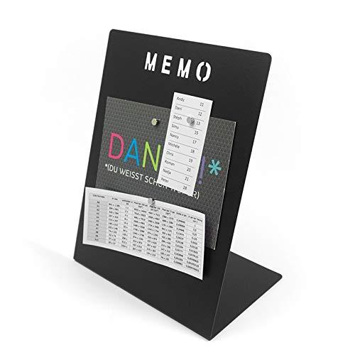 Magnettafel Memoboard mit Kreide beschreibbar - 180 x 120 x 235mm inkl. Magnete - Schreibtisch Magnetboard Magnetpinnwand Magnet Whiteboard Pinnwand zum beschriften, Farbe:schwarz
