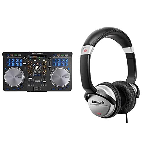 HERCULES Universal DJ - Consolle per DJ, Nero & Numark HF125 - Cuffie Portatili per DJ con Cavo da 1,80 m, Driver da 40 mm per Risposta in Frequenza Estesa e Padiglione Chiuso per Isolamento Acustico