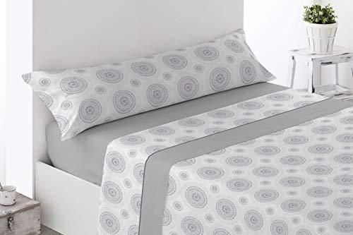 Juego de sábanas Estampadas de Microfibra Transpirable Mod. Laron (Disponible en Varios tamaños y Colores) (Gris, Cama de 135 cm (135_x_190/200 cm))