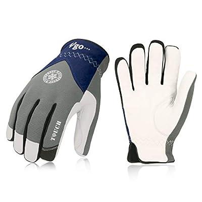 Vgo 2Pairs 32? or above 3M Thinsulate C40 Winter Goatskin Leather Waterproof Work Gloves(Grey,GA7356FW)