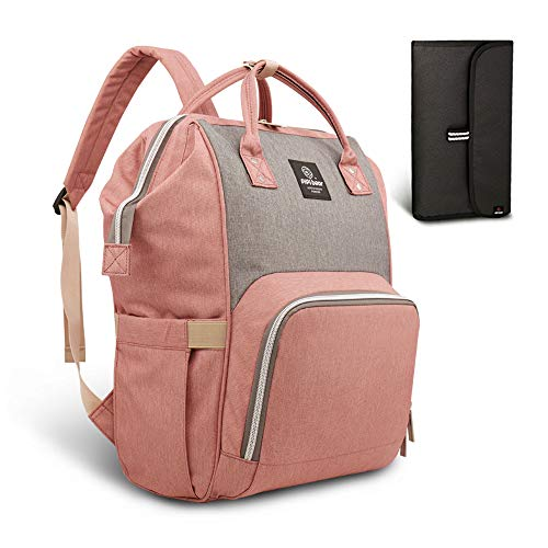 Pipibear Mutifunktionale Wickeltasche Rucksack, Wasserdichte Wickelrucksack Tasche, Große Reisetasche für Mutter und Baby (Rosa mit Grau)