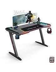 Gaming Desk met Led verlichting 140cm - Inclusief RGB PC muismat XXL Led - Z-poot tafel voor kantoor en studie ruimte
