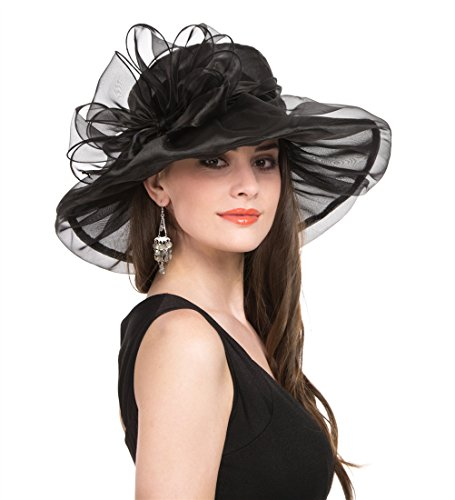 Women's Organza Church Kentucky Derby British Fascinator Bridal Tea Party Wedding Hat Summer Ruffles Cap (H8-Black Bowknot)