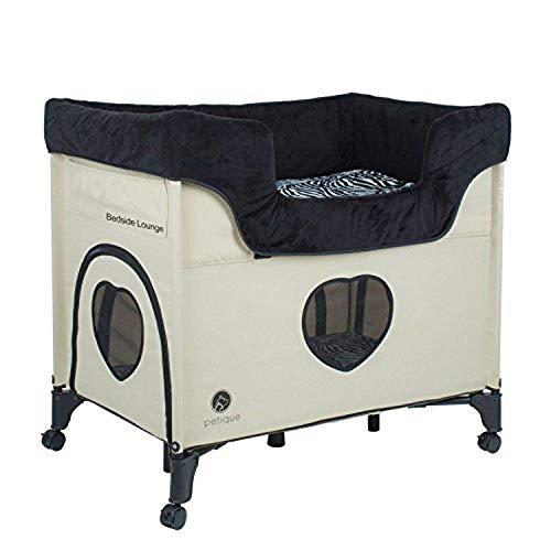 PETIQUE Bedside Lounge-Zebra Vibes Pet Bed, Crème, One Size, Bedside Lounge - Zebra Vibes