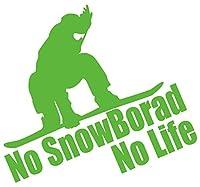 カッティングステッカー No SnowBoard No Life (スノーボード)・7 約180mmX約195mm ライム 黄緑