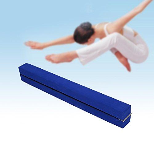 Viga de equilibrio de 2,2m, gamuza sintética, plegable; para entrenamiento de gimnasia en casa, azul