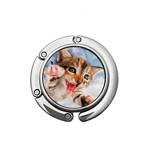 Gancho de Monedero - Bolso Plegable Redondo Gancho Colgador de Mesa Plegable Cute Flying Cats