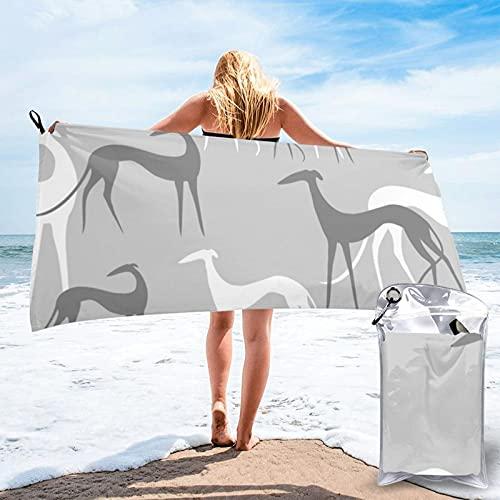 CERYS RILEY Sighthounds - Toalla de secado rápido, color gris claro sobre gris