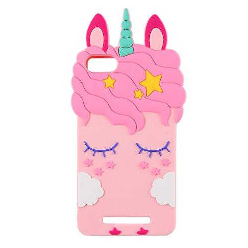 Mulafnxal Pink Unicorn Licorne Coque pour Wiko Lenny 3/Jerry,Housses de téléphone,TPU Silicone Etui,Mignon 3D Cartoon Dessin Animé Animaux Licorne Souple Fille,Cute Kids Girls Case pour Lenny3