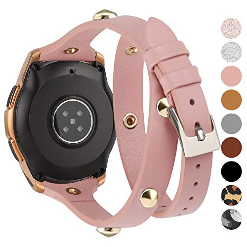 Moolia 20mm Leather Band Compatible for Samsung Galaxy Watch 42mm / Watch 3 41mm / Active 40mm / Active 2 (40mm/44mm) , Slim Double Tour Strap Wristband for Samsung Gear S2 Classic (Rose Pink)