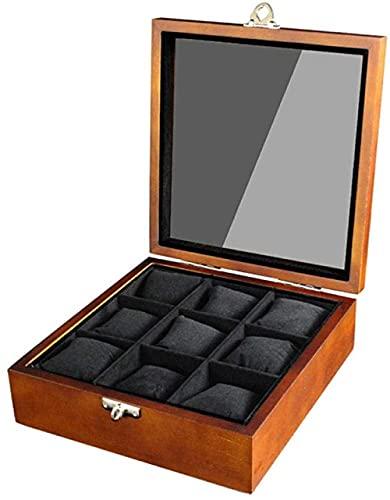 T.T-Q Caja de Reloj de 9 dígitos Cajas para Relojes Caja de Almacenamiento de Reloj de Madera Caja de Regalo Caja de Regalo para Almacenamiento y visualización 22.2 * 11 * 11.2cm