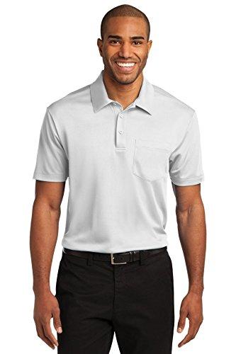 Port Authority Men's Silk Touch Performance Pocket Polo L White