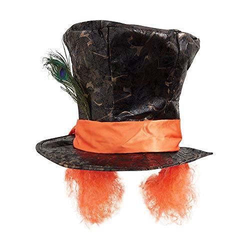 shoperama Verrückter Hutmacher Zylinder mit Haaren und Pfauenfeder Mad Hatter Kostüm Hut Perücke