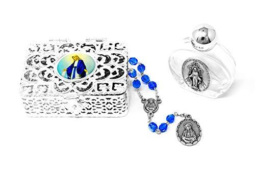 Catholic Gift Shop Ltd Juego de Regalo de Chaplet de Nuestra Señora de los Dolores, Siete Dolores de María, Rosario, Botella de Agua Bendita de Lourdes y Rosario Milagroso