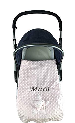 Manta Bebe Personalizada con Nombre bordado con Reverso Extrasuave Estampado - danielstore (Osito rosa)