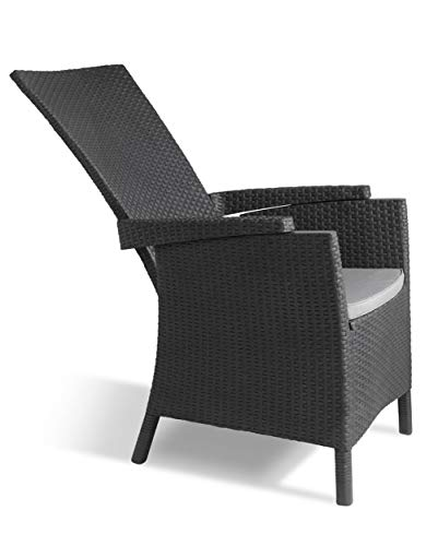 Allibert by Keter Vermont Rattan Reclining Chair Outdoor Garden Furniture - Graphite with Grey Cushions