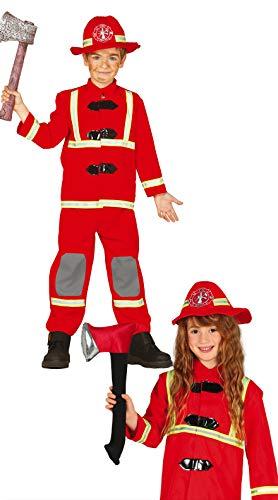 Costume vestito Vigile del Fuoco pompiere carnevale bambino taglia 7-9 anni