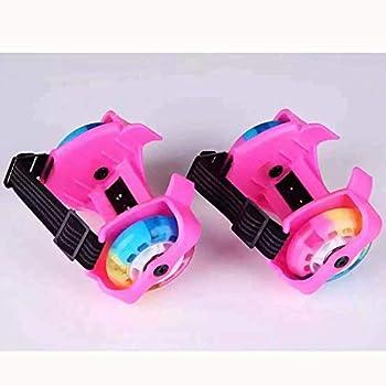 JRYⓇ Roller Skates - Shiny Roller Skates for Girls Heel Wheel Roller Skates Attachable Shoe Trainer Wheels Boys and Girls with Led Lights