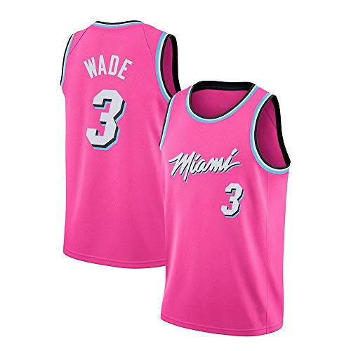 JINHAO Herren Basketball Trikot NBA Miami Heat # 3 Dwyane Wade Mesh Basketball Swingman Trikot (Rosa, M)