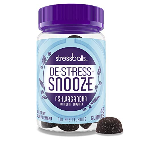 Stressballs, De-Stress + Snooze, with Melatonin and Ashwagandha to Aid in Sleep and Stress Relief, Chamomile & Lavender Herbal Blend, Non-Habit Forming Supplement, 46 Gummies