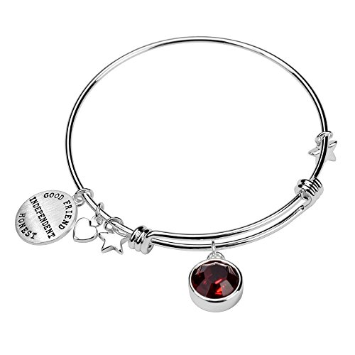 Silver Brass Charm Birthstone Crystal Expandable Bangle Bracelet, 7.8